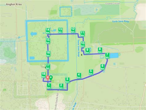 temple grand map running in angkor wat and siem reap cambodia minding