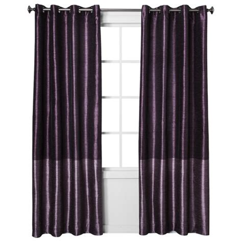 threshold faux silk curtains threshold banded faux silk curtain panel target