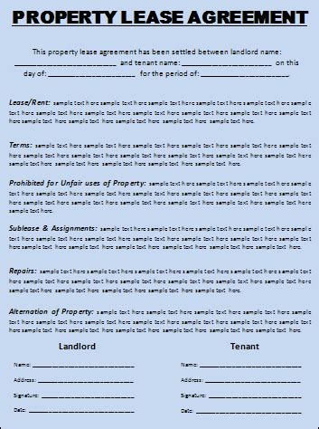 rental property lease agreement template lease agreement template free printable word templates