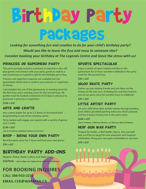 birthday party packages legends centre warman sk official website