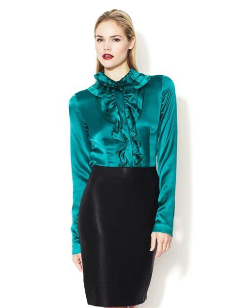 Kirana Frill Top Blouse 1 stretch satin ruffle blouse frilly satin