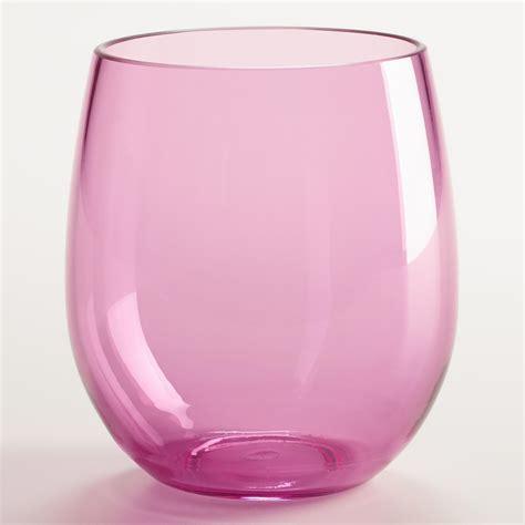 Acrylic Wine Glasses Pink Acrylic Stemless Wine Glasses Set Of 4 World Market
