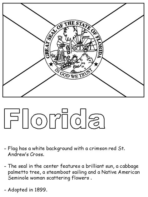 florida state symbols coloring pages united states state