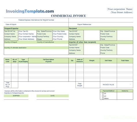 Tnt Commercial Invoice Template