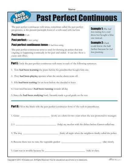 verb tense worksheets past perfect verb tense worksheets past perfect continuous