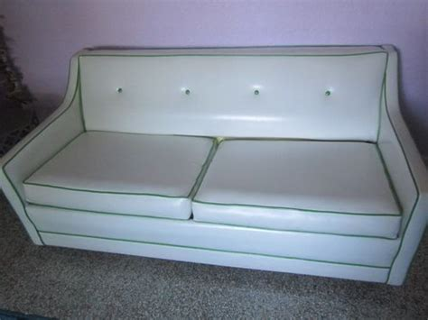retro vinyl couch vintage retro white vinyl with green trim couch sofa bed
