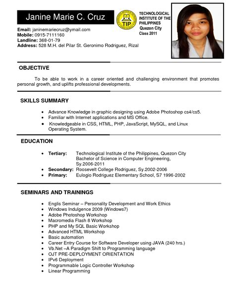 resume sle format for application philippines transform resume format for application philippines about 10 cv for application pdf