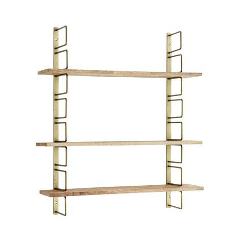 etagere murale laiton et bois hauteur reglable 64x13x74 cm