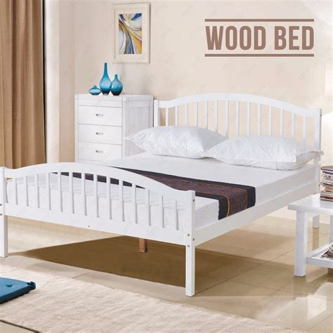 4ft6 white solid pine wood bed frame pine