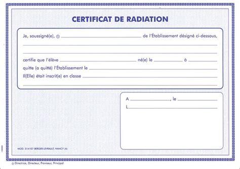 Lettre De Radiation Ecole Maternelle Certificat De Radiation Documents Divers Pour 233 Coles