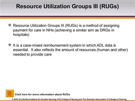 Resource Utilization Groups Rugs by Module 1 Nursing Homes The Basics