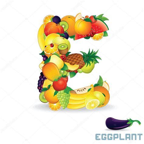fruit with e vector alphabet from fruit letter e stock vector
