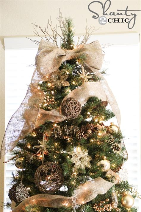 easy diy tree topper burlap bows christmas trees and