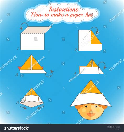 Steps To Make A Paper Hat - how make paper hat tutorial stock vector