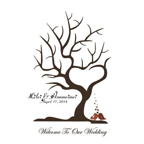 Gift Card Tree For Wedding Shower - 40x60cm customize wedding fingerprint tree guestbook stretched canvas wedding guest