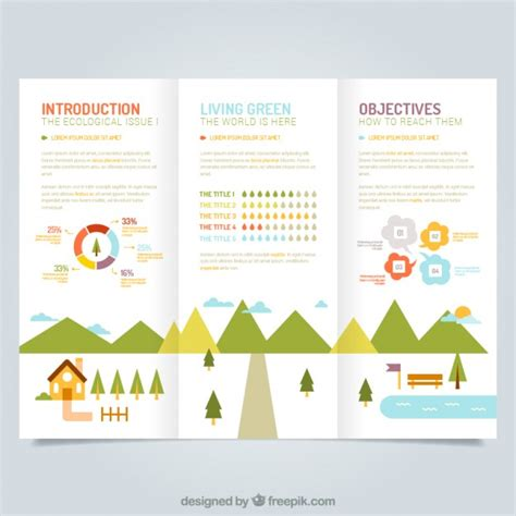 ecological leaflet template vector free