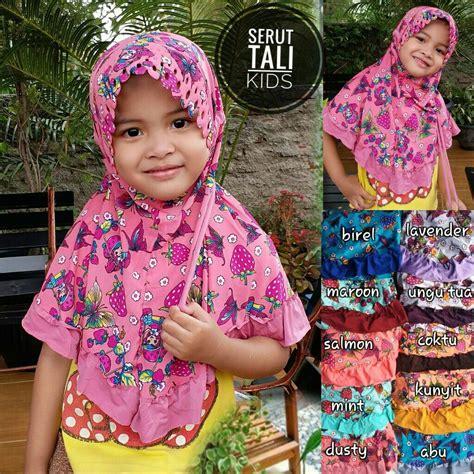 Kerudung Anak Jilbab Kaos Serut Sekolah Anak Kecil Sd Lucu Bagus Murah jilbab anak serut tali sentral grosir jilbab