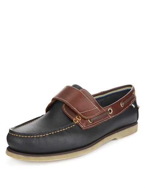 m and s shoes leather riptape boat shoes m s ss14