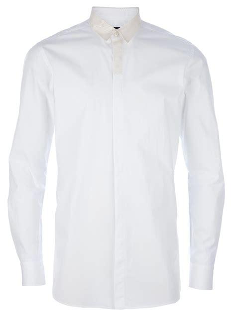White Shirt Lyst by Fendi Sleeve Dress Shirt In White For Lyst