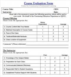 Course Evaluation Forms Template by Course Evaluation 5 Free For Pdf