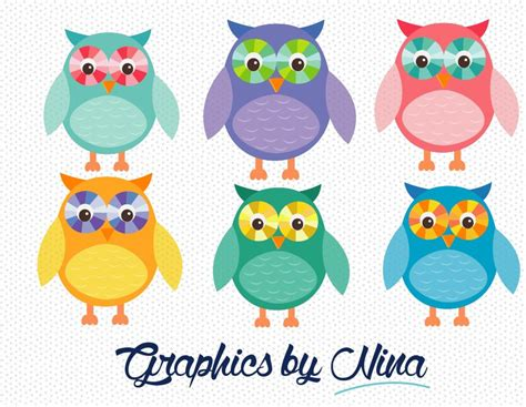 colorful owls colorful owls clipart illustrations creative market