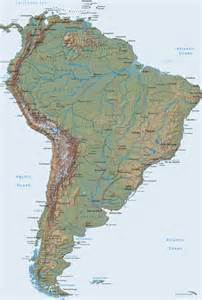 large detailed relief map of south america south america