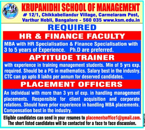 Aptitude Test For Mba Placements by Krupanidhi School Of Management Wanted Faculty Aptitude