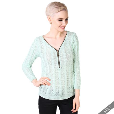 chunky knit jumper womens womens chunky wool cable knit zip v front jumper