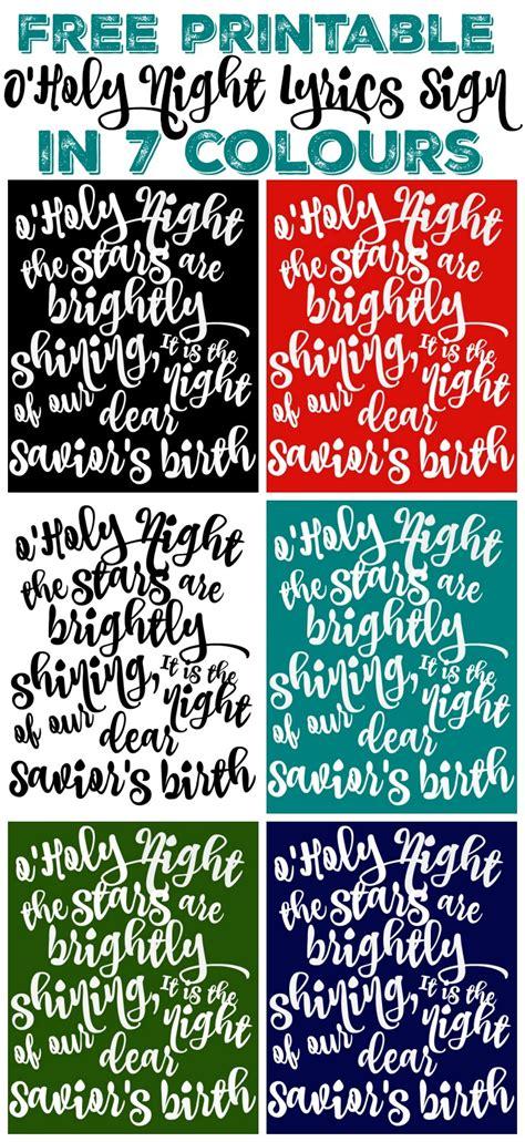 free printable o holy night lyrics sign art the happy housie