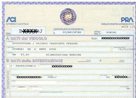 dati pra libretto di circolazione e certificato di propriet 224 un