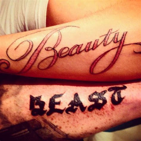 beauty and the beast couple tattoo and the beast to infinity and beyond