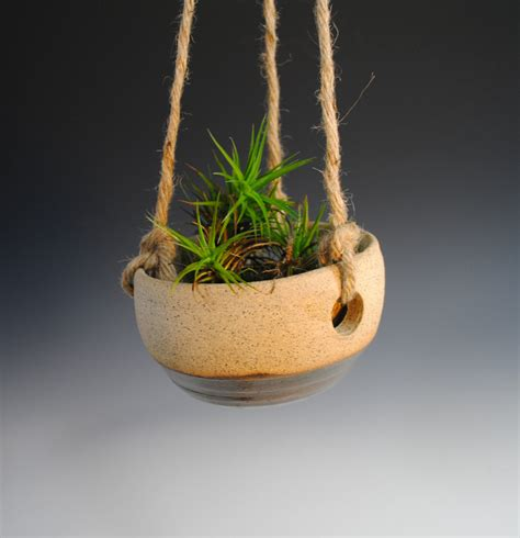 hanging ceramic planter hanging planter ceramic plant pot handmade brown speckled