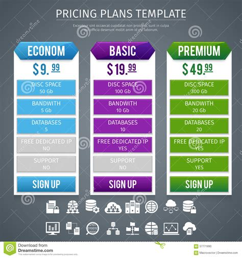 Software Pricing Plans Template Stock Vector Image 57771890 Software Pricing Template