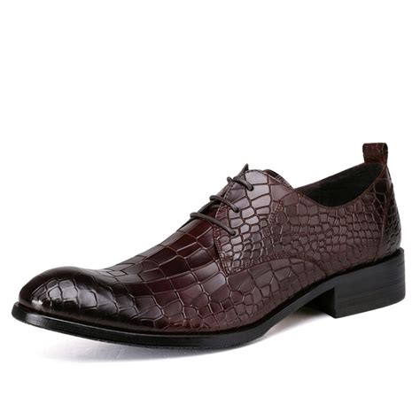 mens embossed leather lace up dress shoes cw762017