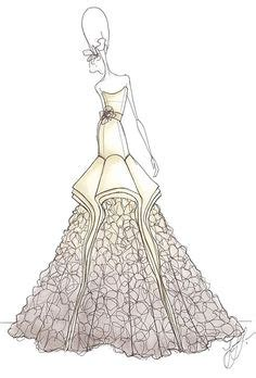 Wst 10875 Side Lace Panels Gown wedding dress sketches