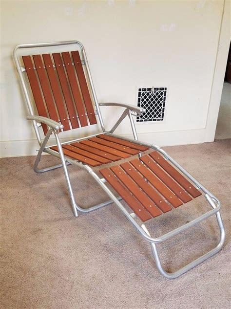 Redwood Lounge Chair The Most Vintage Redwood Slat Aluminum Lawn Chair Chaise