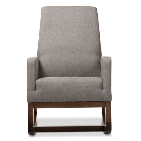 baxton studio rocking chair yashiya baxton studio yashiya mid century retro modern grey fabric