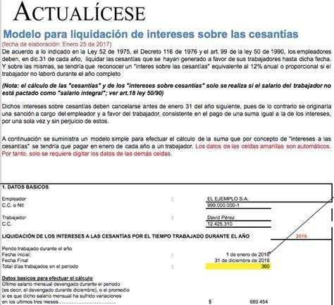 Liquidador De Cesantas Actualicesecom | liquidador modelo c 225 lculo de intereses sobre las