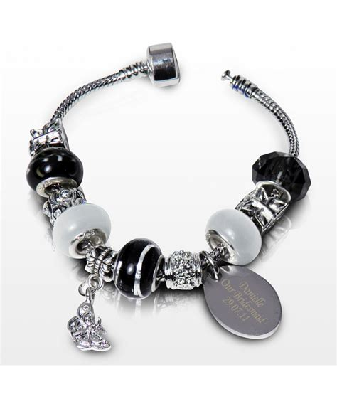 charm bracelet personalised charm bracelet jet 21cm just for gifts