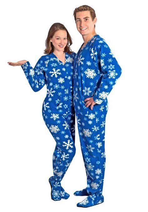 drop seat pajamas for family couples pajamas blue snowflake footed pajamas w drop