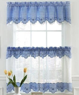 Provence Gingham Kitchen Curtains Available In Blue Red