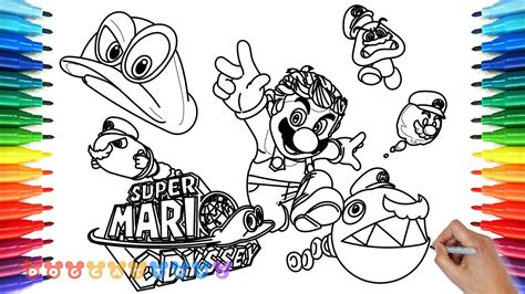 coloring pages mario odyssey how to draw mario odyssey 26 drawing coloring pages for