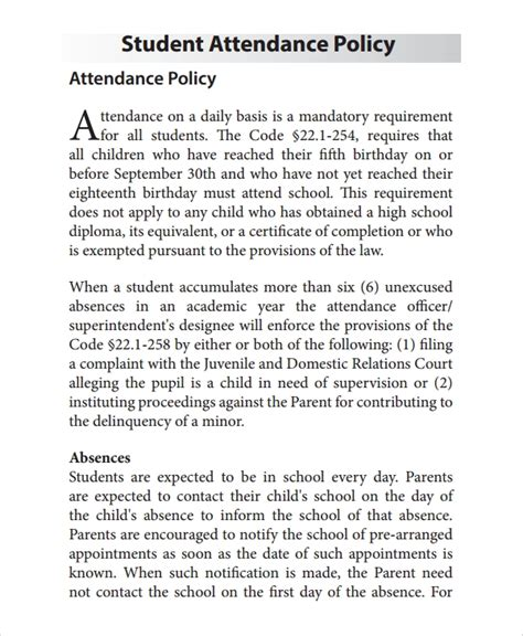 Attendance Policy Template Teacheng Us Sle It Policy Templates