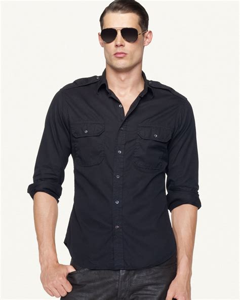 Gervin Shirt Black By Berrybenka Labe ralph black label shirt in blue for panther blue lyst