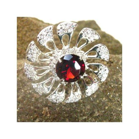 Emas Putih 14k 2 cincin wanita silver ring 6us dengan garnet model bunga