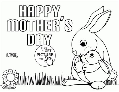 hard coloring pages for mother s day cute bunny for mother s day coloring page for kids