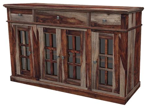 sideboards and buffets with glass doors solid wood rustic sideboard buffet with glass doors