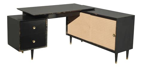 mid century modern l shaped desk mid century modern black l shaped writing desk chairish