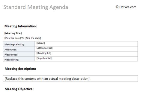 standard minutes of meeting template standard meeting agenda template dotxes