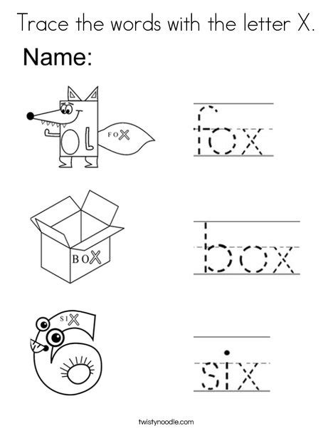 Business Terms Letter X Trace The Words With The Letter X Coloring Page Twisty Noodle